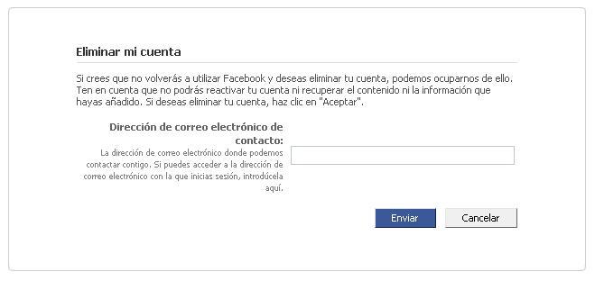 Introducir email para iniciar la petición de eliminar la cuenta en Facebook